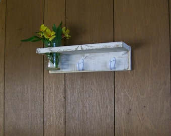 Wood Entry Shelf Coat Rack with Vase