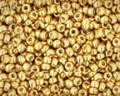 Size 8 Gold Seed Beads TOHO 17g Permanent Finish - Galvanized Starlight Nr. 8-PF557 Metallic Opaque 8/0
