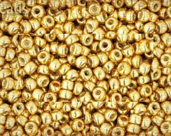 Size 8 Gold Seed Beads TOHO 17g Permanent Finish - Galvanized Starlight Nr. 8-PF557 Metallic Opaque 8/0 last