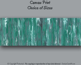 Teal green gray, Home decor, Abstract painting - Oversized canvas print, Panoramic wall art, Office decor, Master bedroom decor, Large wide