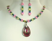 Crystal Pendant Necklace & Earrings Pastel Colored Neon Teardrop Pendant Iridescent Beaded Glass Jewelry Unique Gifts Cool Gifts for Her