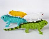 Crocheted iguanas