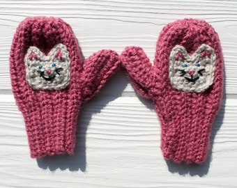 Kitten Mittens, Crochet Cat Mittens, Children's Mittens, Made to Order
