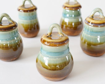 """In Stock, Miniature Lidded Jar 2 3/4"""""""" Tall by 1 1/4"""" Wide Opening, Green Brown Glazed Stoneware Tiny Pottery, IN STOCK"""
