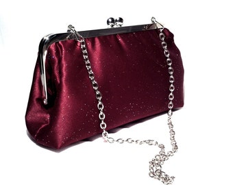 "Maroon/Burgundy  Glitter Evening Bag-Clutch with 16"" Chain Handle 8 X 5 X 2.5"