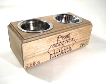 Elevated Pet Feeder- Wine Box Raised Bowls X-Small