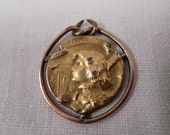 Joan Of Arc Medal Pendant Fix gold plated fix signed becker w943
