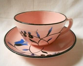 French Vintage Pink / Black / Blue Floral Teacup & Saucer (A869)