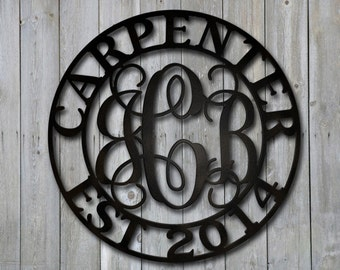 Vine Monogram Customized Metal Steel Wall Mount 3 Letter Center