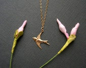 14K Gold Filled Bird Necklace Womans Delicate Tiny Whisper Necklace Sparrow Simple Style Light Genuine Gold Filled Chain