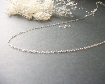 Simple Sterling Silver Necklace Womans Delicate Tiny Whisper Necklace Simple Style Light Dainty Plain Gold Filled Chain