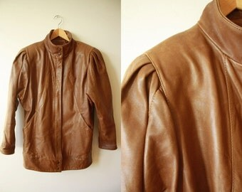 Caramel Brown Leather Jacket 80s Batwings Womens