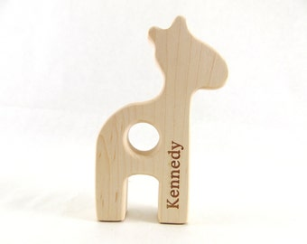 Organic Wooden PERSONALIZED Baby Teether - GIRAFFE - Natural Maple Wood Teether