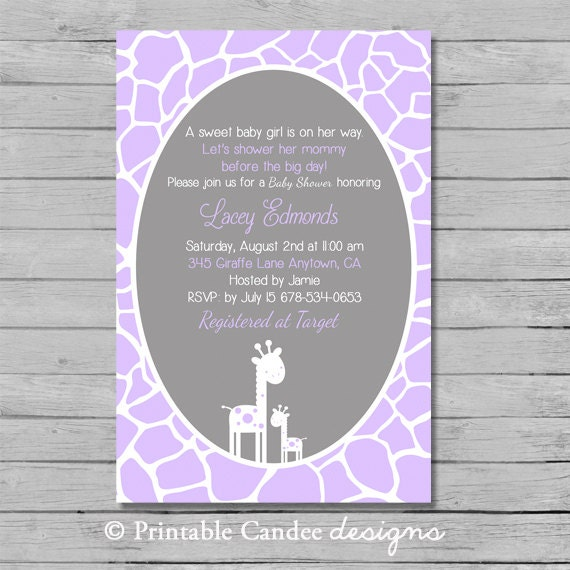 Purple And Grey Giraffe Baby Shower Invitation By