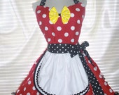 French Maid Apron Pin-up Retro Style Costume Apron Flirty Skirt Sweetheart Neckline - Ready To Ship