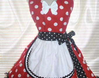 French Maid Costume Apron Red and White Polka Dots Pin-up Retro Style Flirty Skirt Sweetheart Neckline