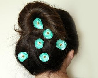 Mint  Hair Accessories, Bridal Hair Bobby Pins, Set of 6