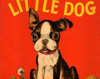The Playful Little Dog Boston Terrier Vintage Art Decoupaged On Wood
