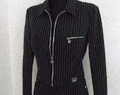VERSACE JEANS COUTURE Suit Women Jacket + Pants Black White Stripes Vintage Italy