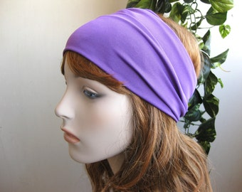 Spring Purple Turban Head Wrap / Band, Women's Wide Easter Headband, Turband, Stretch Fabric, Stretchy Yoga Headband, Hair Accessories,