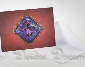 Goth Fairy Card, Halloween Card, Fairy Greeting Card, Greetings Card, Valentine Card, Holiday Card, Goth Fairy Wall Art, Halloween Decor