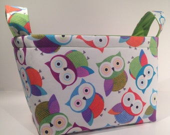 Fabric Storage Basket Bin Organizer Storage Container- Colorful Owls with Solid Lime Green Interior