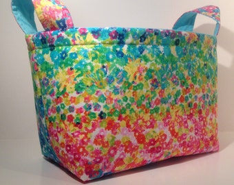 Fabric Storage Basket Bin Organizer Storage - Rainbow Multi Floral Print with Solid Light Blue Interior