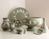 Wedgwood Jasperware Instant Vintage Collection of 8 Pieces in Celadon Green