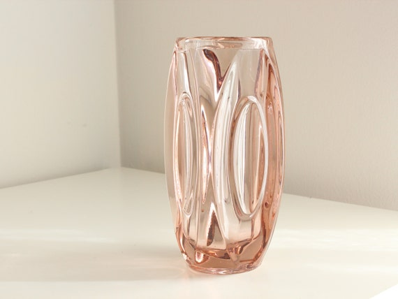 """Midcentury Schrötter """"Lens"""" Vase, Large in Lilac Glass, by Rosice / Sklo Union Glass in Czechoslovakia"""