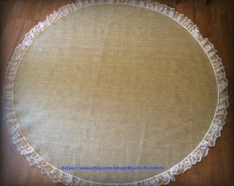 Country Rustic Wedding Table Centerpiece Burlap Overlays with Natural Lace -- Round Table topper 60 inches in diameter
