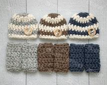 Newborn boy hat and leg warmer set, newborn boy photo prop, hat and leg warmet set, grey, blue, brown, newborn boy hat, baby boy hat