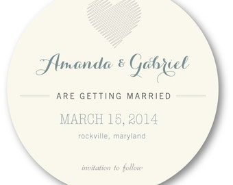 Save the Date - Unique circle design ~ Printed with envelopes included