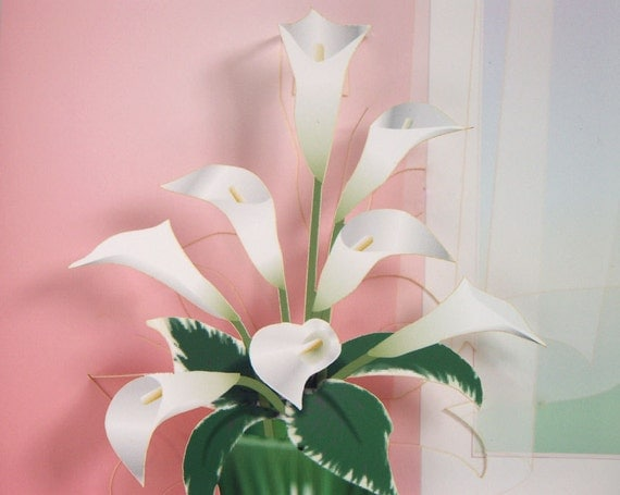 Pop-up Calla Lilies Card Any occasion card Flower popup card