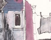 Backyard view in Dublin, Original Art, Pen&Ink Drawing, Watercolour, Roofs, Chimneys, Laundry Washing in the back garden, Pink, Grey