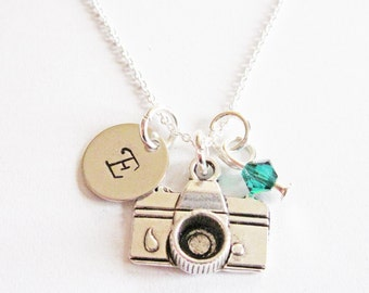 SALE - Personalized Camera Necklace, Photographer Gift, Birthstone Necklace, Custom Initials, Initial Jewelry sterling silver necklace charm