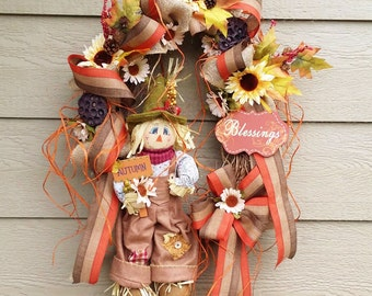 Harvest Wreath - X-LARGE !  Scarecrow Wreath - Sun Flower - ready to ship!
