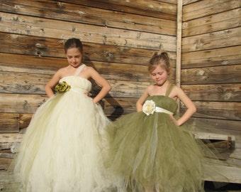 Olive flower girl dress, Ivory flower girl dress, Flower girl dress, pagent dress, girls dress, tulle dress, Costume, princess dress