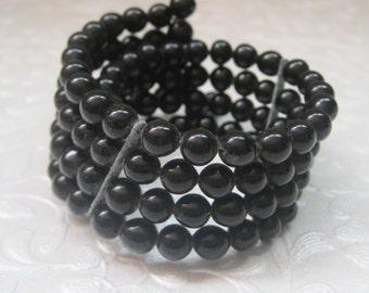 Vintage Jewelry, Bracelet, Memory Wire Bracelet, Black Beads, 4 Multi Strand, Wide Bracelet, Statement Piece, 1950's, Mid-Century