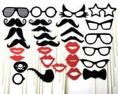 Mustache on a Stick Wedding Favor Party Photo Booth Prop Mask 30 Piece Set - 107