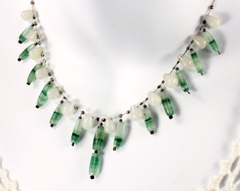 Green-White Nephrite Jade Necklace and Earrings, Sterling Silver, cascading necklace, fine necklace with green white gemstone, gift, NL0254