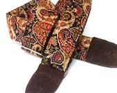 Guitar Strap in Gypsy Paisley Earth Tones with Black or Brown Leather Ends