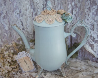 Silverplate teapot, Shabby Turquoise Painted Coffeepot, Upcyled Teapot