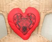 Hand screen printed Celtic  Heart  pattern,  Heart shaped Cushion, Wedding Gift.