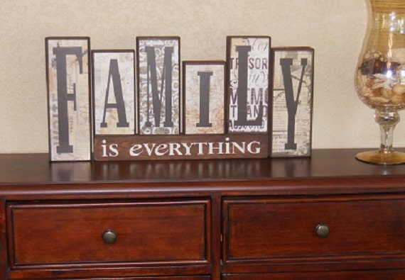 Family Wood Blocks Home Decor Sign