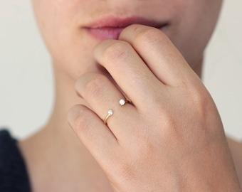 Dual Stone Ring, Diamond Wedding Ring, Open Ring, Open Engagement Ring, Open Diamond Ring, Minimalist Diamond Ring, Diamond Horseshoe Ring