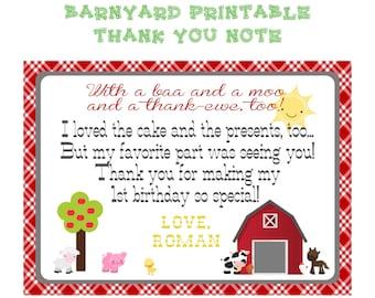 Farm Animal Barnyard Printable Birthday Thank You Note