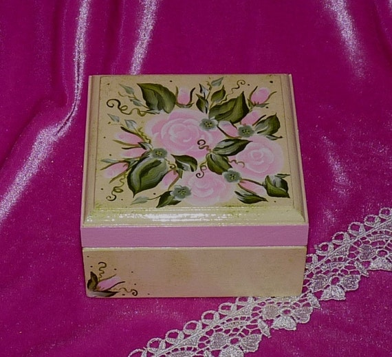 Decorative Wood Ring Box Hand Painted Wood Box Wedding Ring Box Wood Ring Bearer Box Engagement Shabby Chic Box