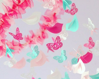 Nursery Mobile - Hot Pink, Aqua Butterfly & Birds Mobile, Photography Prop,  Baby Shower Gift