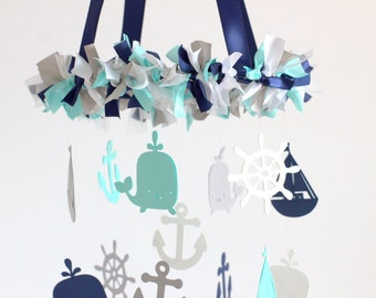 Nautical Nursery Mobile in Navy, Aqua, Gray & White-Baby Mobile, Crib Mobile, Baby Shower Gift