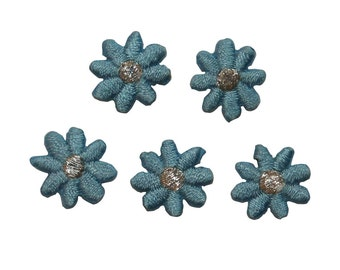 ID #6629 Lot 5 Blue Yellow Daisy Flowers Iron On Embroidered Patch Applique L5